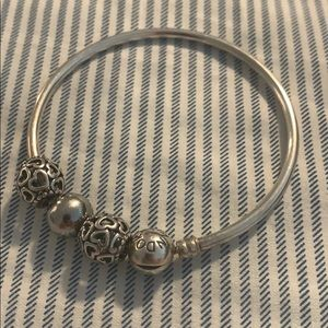 Like new pandora bangle with 3 beads
